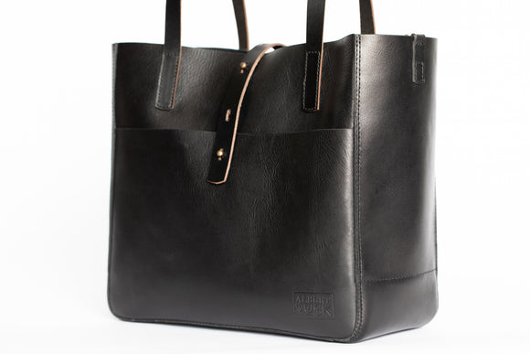 The Transport Tote | Black Leather Tote Bag | Albert Tusk Leather Goods Online