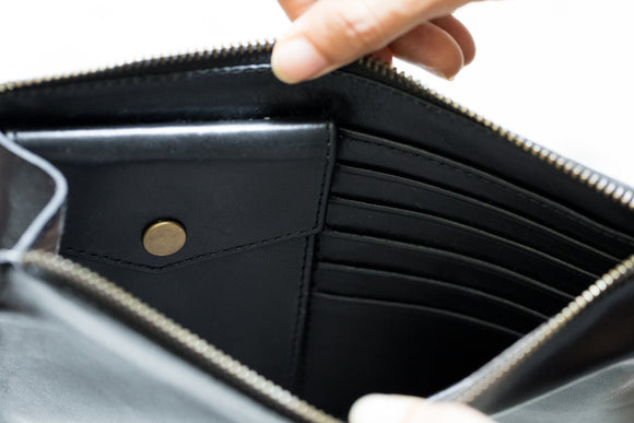 The Medium Clutch | Black Leather Clutch | Albert Tusk Leather Goods Online