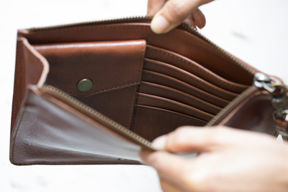 The Medium Clutch | Tan Leather Clutch | Albert Tusk Leather Goods Online