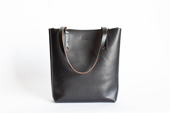 The Medium Tote | Black Leather Tote Bag | Albert Tusk Leather Goods Online
