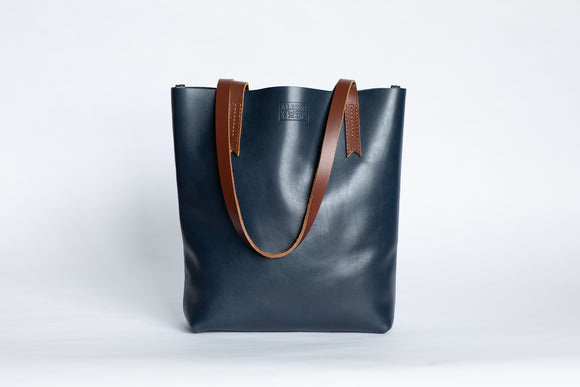 The Medium Tote | Blue Leather Tote Bag | Albert Tusk Leather Goods Online