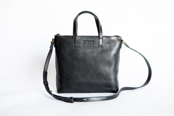The Mini Tote | Black Mini Tote | Albert Tusk Leather Goods Online