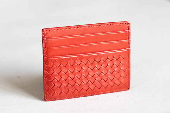 The Slim Cardholder | Red Leather Cardholder | Albert Tusk Leather Goods Online