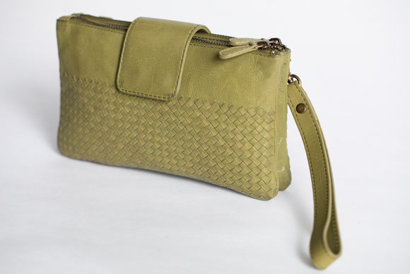 The Sling Wallet | Green Weave Sling Wallet | Albert Tusk Leather Goods Online