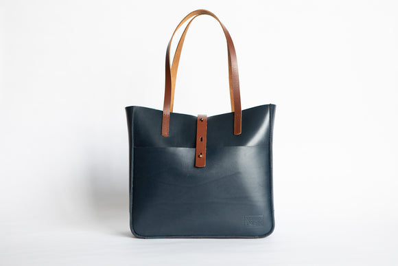 The Transport Tote | Blue Leather Tote Bag | Albert Tusk Leather Goods Online