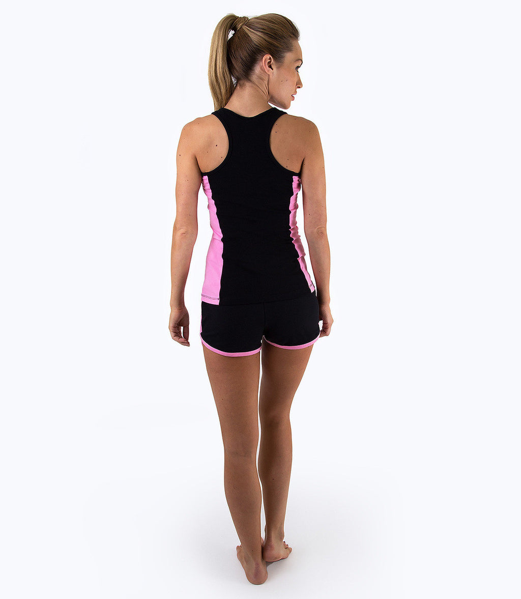 LADIES COLOUR BLOCK VEST - BLACK/PINK