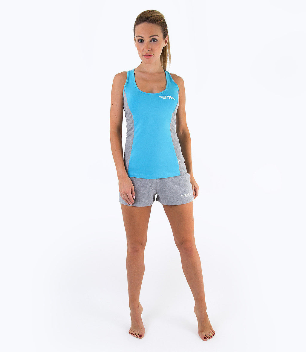 LADIES COLOUR BLOCK VEST - BLUE/GREY