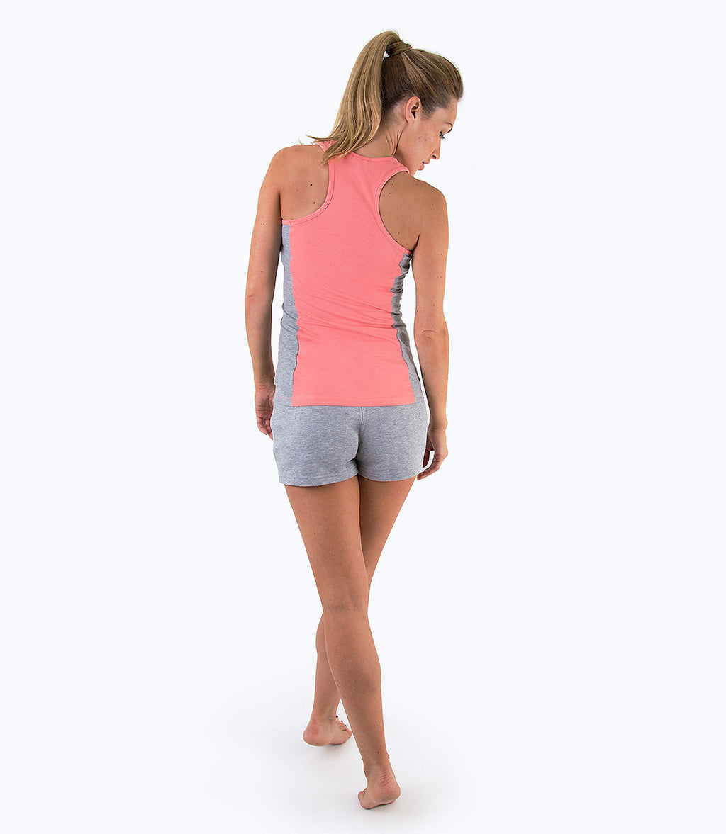 LADIES COLOUR BLOCK VEST- CORAL