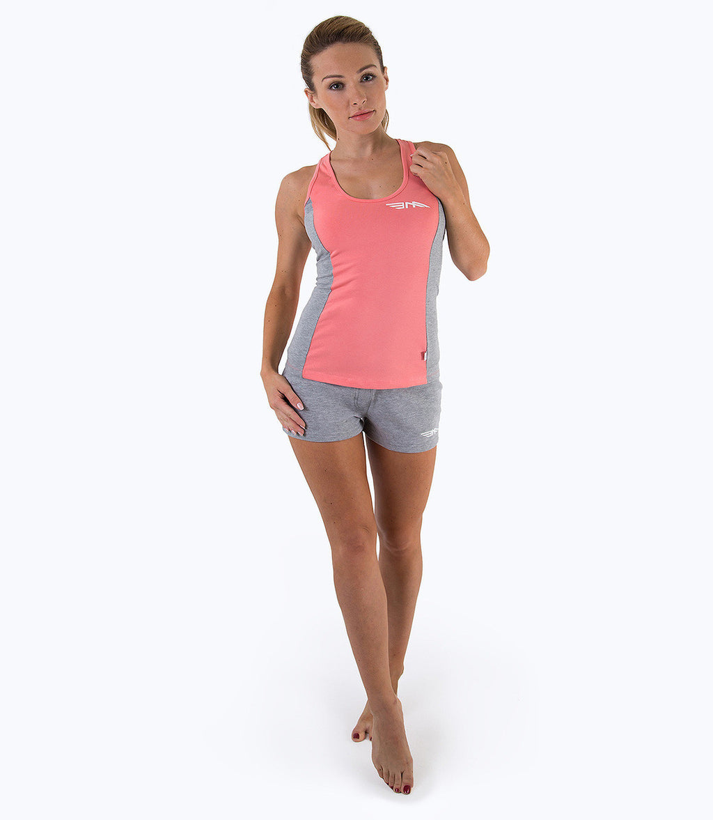 LADIES COLOUR BLOCK VEST- CORAL/GREY