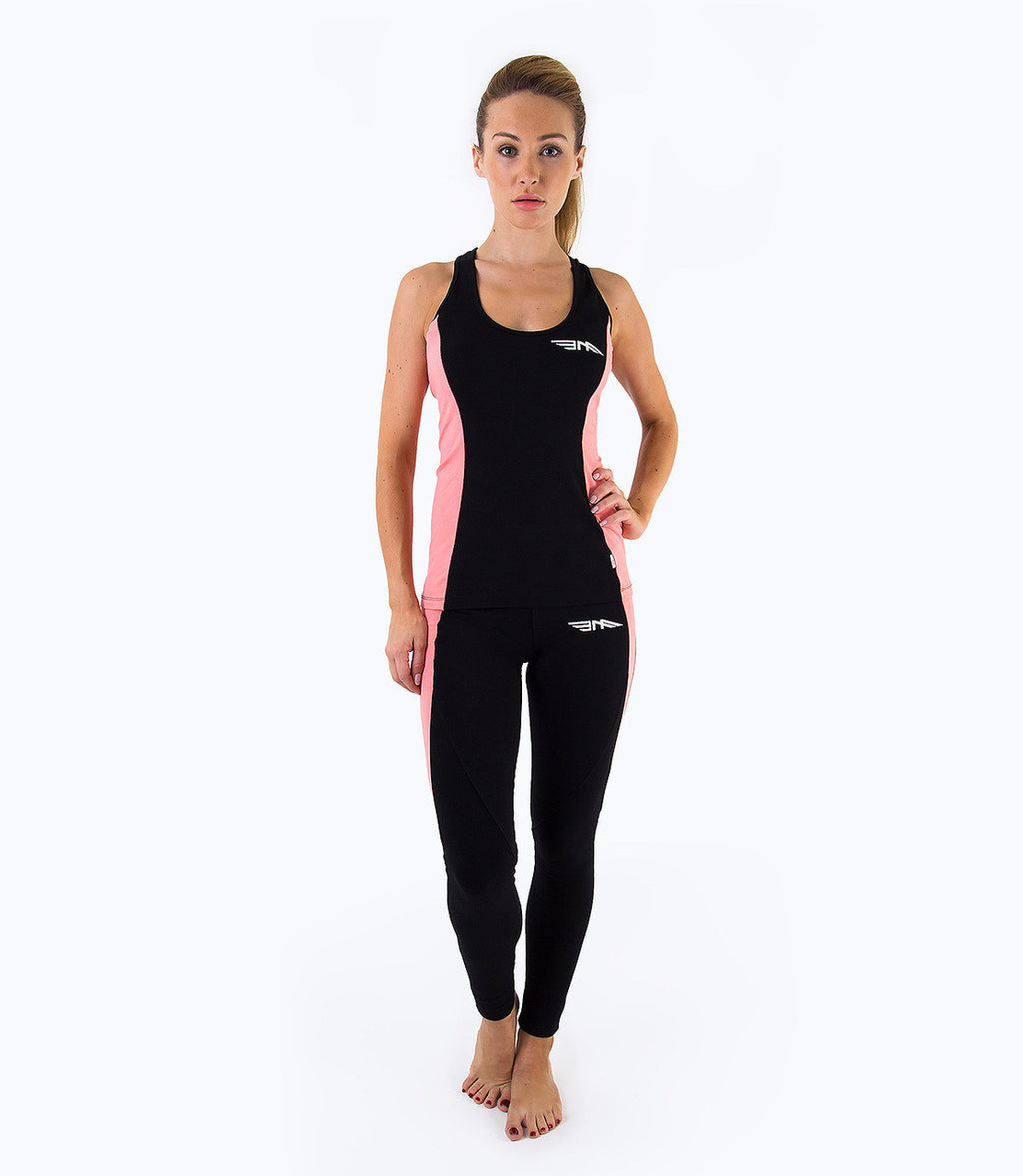 LADIES LEGGINGS - BLACK/CORAL