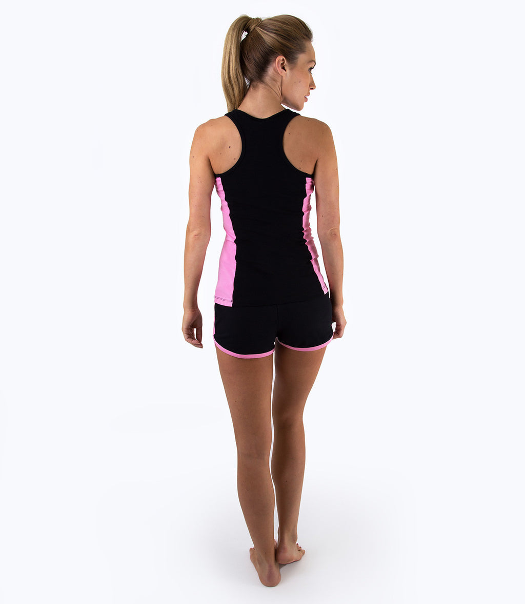 LADIES RUNNING SHORTS - BLACK/PINK