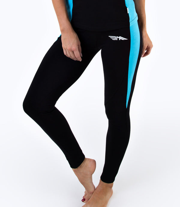 LADIES CROPPED LEGGINGS - BLACK/BLUE
