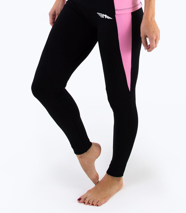 LADIES CROPPED LEGGINGS - BLACK/PINK