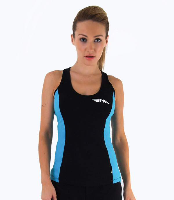 LADIES COLOUR BLOCK VEST - BLACK/BLUE