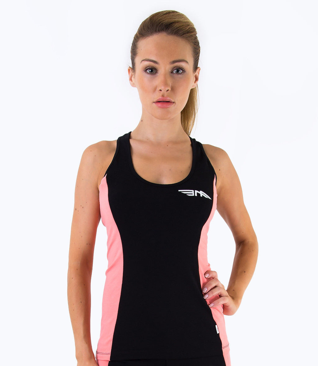 LADIES COLOUR BLOCK VEST - BLACK/CORAL