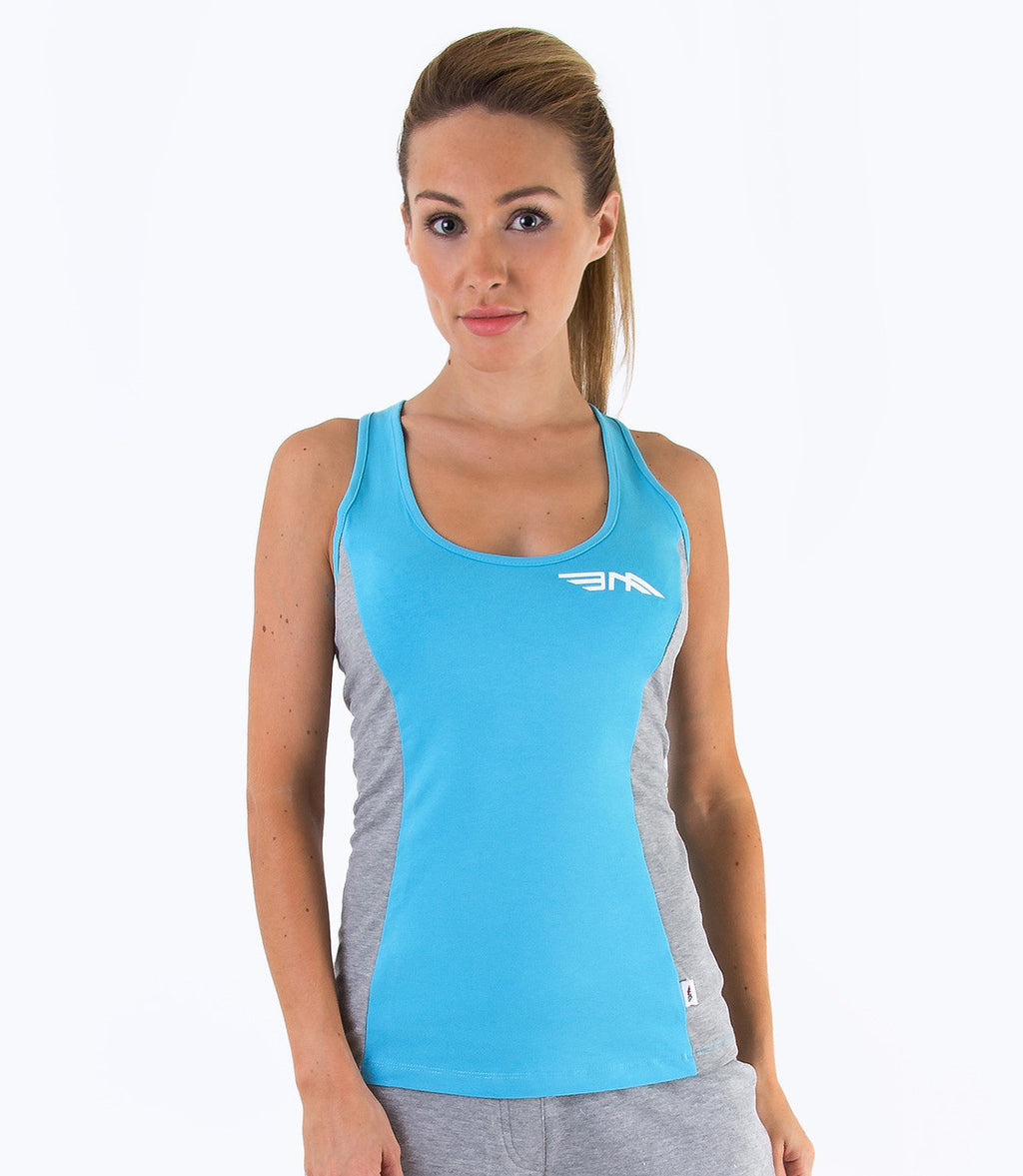 LADIES COLOUR BLOCK VEST - BLUE