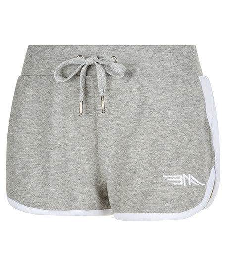 LADIES RUNNING SHORTS - GREY/WHITE