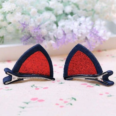 1 Pair/2Pcs Clips Lovely Cat Ears Hair Clips - Red - Accessories