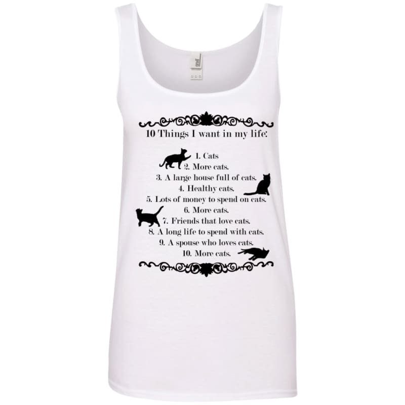 02d0cd38efd19c 10 Things I Want In My Life 882L Anvil Ladies 100% Ringspun Cotton Tank Top