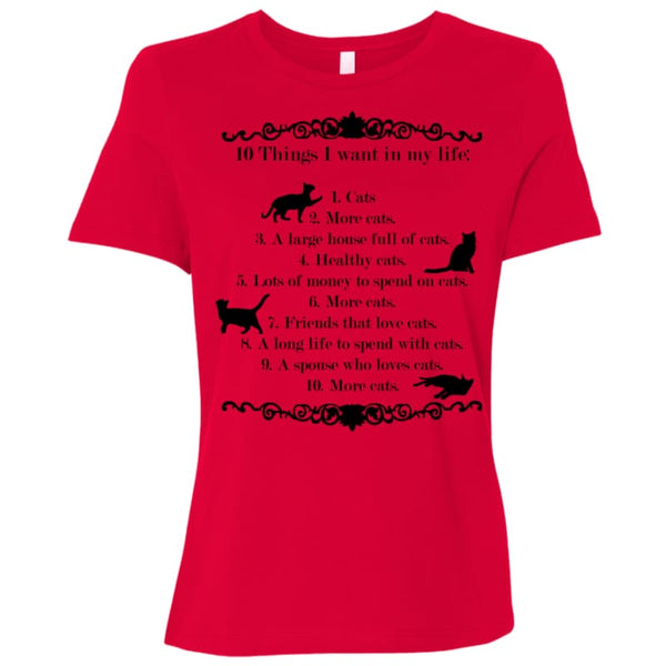 10 things I want in my life B6400 Bella + Canvas Ladies Relaxed Jersey Short-Sleeve T-Shirt - Red / Small - T-Shirts