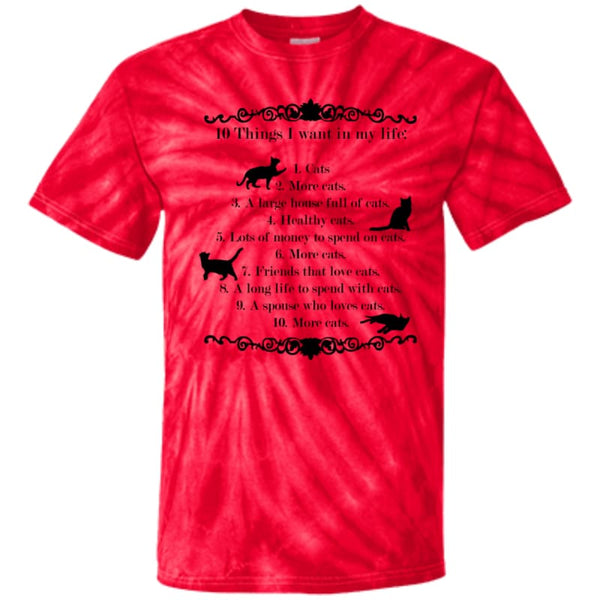 10 things I want in my life CD100Y Youth Tie Dye T-Shirt - Spider Red / YXS - T-Shirts