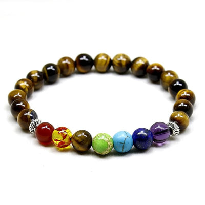7 Chakra Bead Tiger Eye Yoga Stretch Bracelet W/ Natural Stones For Healing And Protecting Tigers - Jewelry