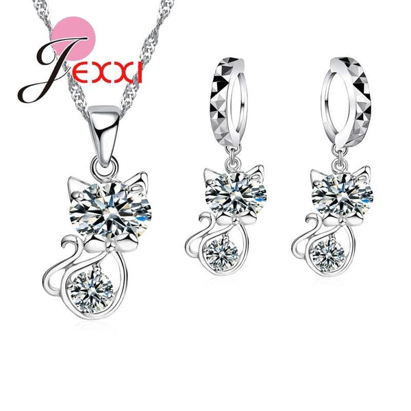 925 Sterling Silver Cubic Zirconia Crystal Cute Cat Necklace Earrings - Jewelry