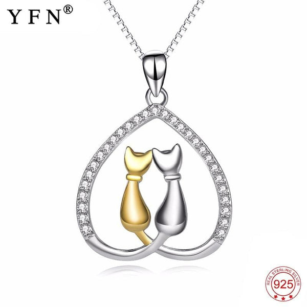 925 Sterling Silver Heart Cats Necklace - Jewelry