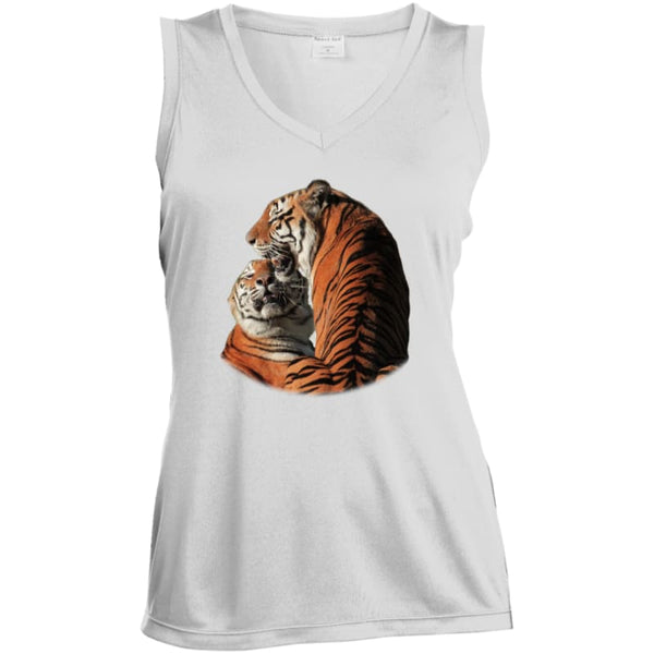 19fff157f9e5d Arthur And Andre Tigers Ladies Sleeveless Moisture Absorbing V-Neck Tank  Top - White