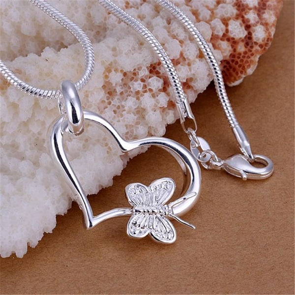 Beautiful fashion silver plated heart butterfly pendant necklace - Jewelry