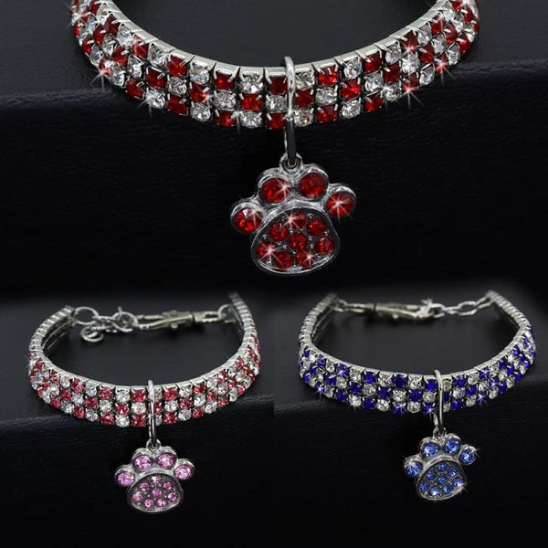 Bling Rhinestone Paw Cat Collar - Pet Accessories