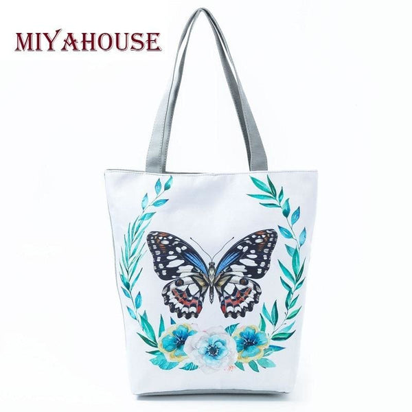 Butterfly Printed Shoulder Bag Canvas Single Shopping Tote - Bags 023aadf5b8b44