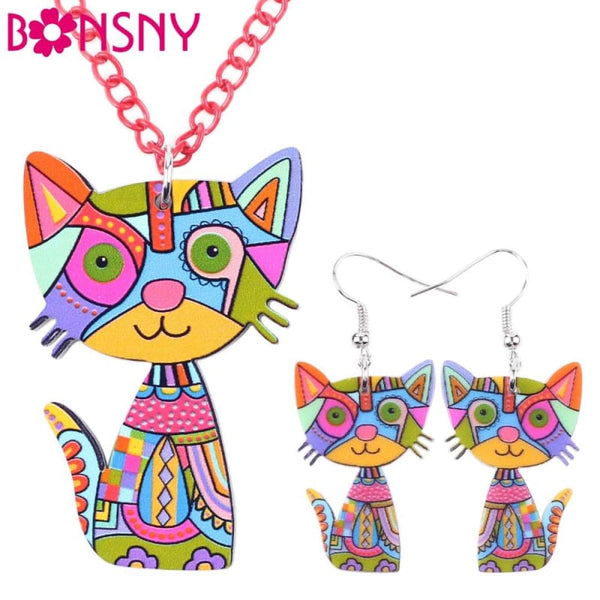 Cat Necklace & Earrings Fashion Jewelry - Jewelry