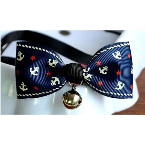Cat Pet Collar Cute Bow Tie With Bell - Blue anchor / Adjustable - Pet Accessories
