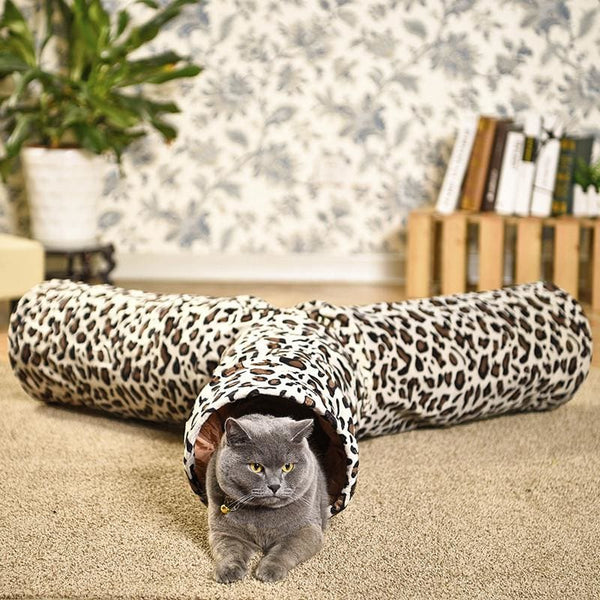 Collapsible Cat Tunnel Leopard Print Crinkly 3 Way Toy - Pet Accessories