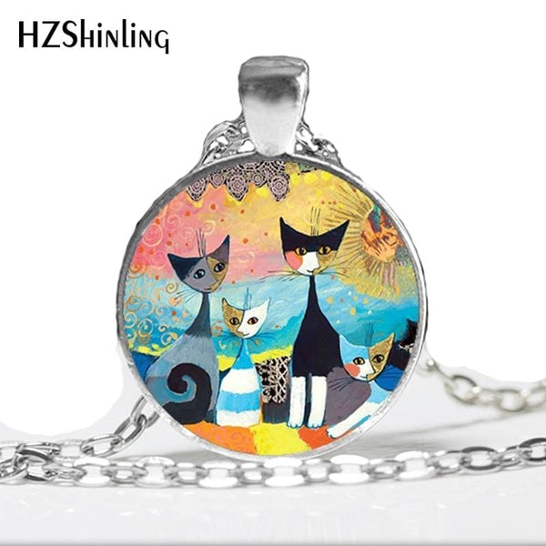 Colorful Cats Family Necklace Glass Dome Pendant - Jewelry