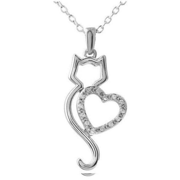 Cut Out Cat With Heart I Love My Cat Pendant - Jewelry