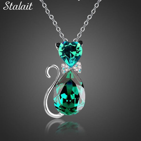 Cute Cat Heart Austrian Crystal Pendant Necklace For Women - Jewelry