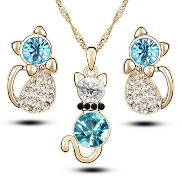 Cute Cat Jewelry Sets Necklace Earrings With Austrian Crystal For Women - Blue - Jewelry