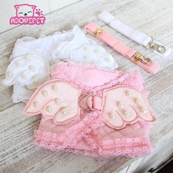 Cute Luxury Pearled Angel Wings Harness w/ Leash - Pet Accessories