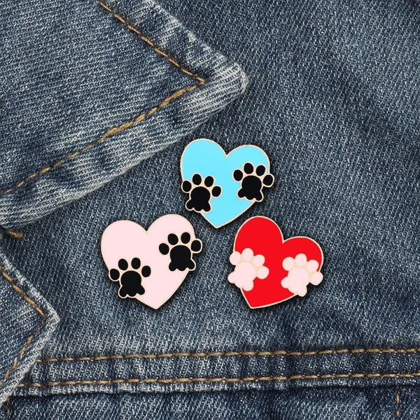 Cute Paw Heart Lapel Sweater Pin Brooch Backpack Tac for Women and Girls - Jewelry
