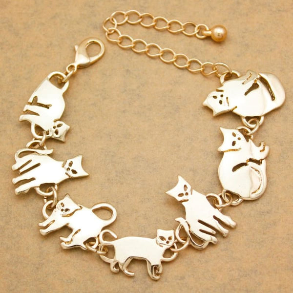 Egyptian Gold Cat Charm Chain Link Bracelets for Women - Jewelry