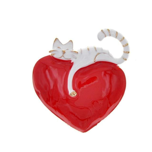 Enamel Heart And Cat Brooch Cute Kitty Pin - white - Jewelry