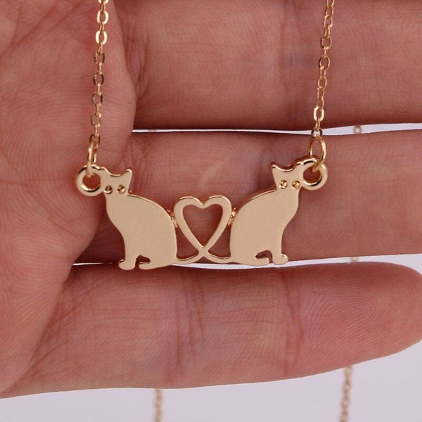 Friends Forever Cat Heart Necklace - Jewelry
