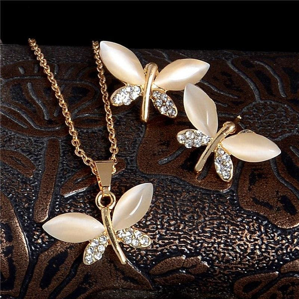 Gold Color Lovely Butterfly Cat Eye Crystal Rhinestone Pendant Necklace Stud Earrings Jewelry Set - Jewelry