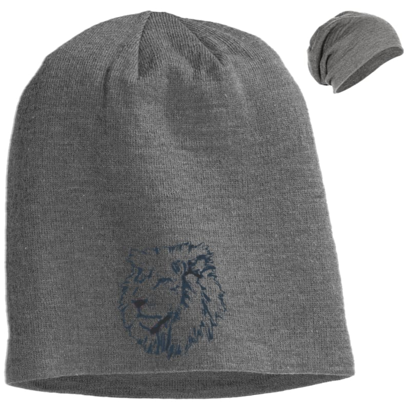 9ac5f9df9af Joseph Lion Outline Slouch Beanie - Light Grey Heather   One Size - Hats