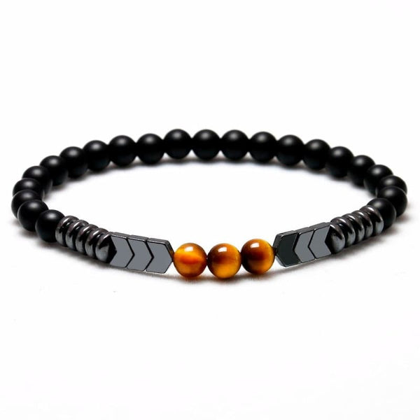 Matte Black Onyx Beads With Tiger Eye Strand Arrow Hematite Stone Bracelet for Men - Jewelry