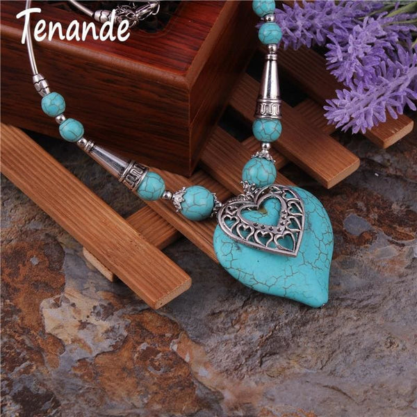 Maxi Big Statement Natural Stone Beads Cones Double Layer Hearts Necklace - Jewelry