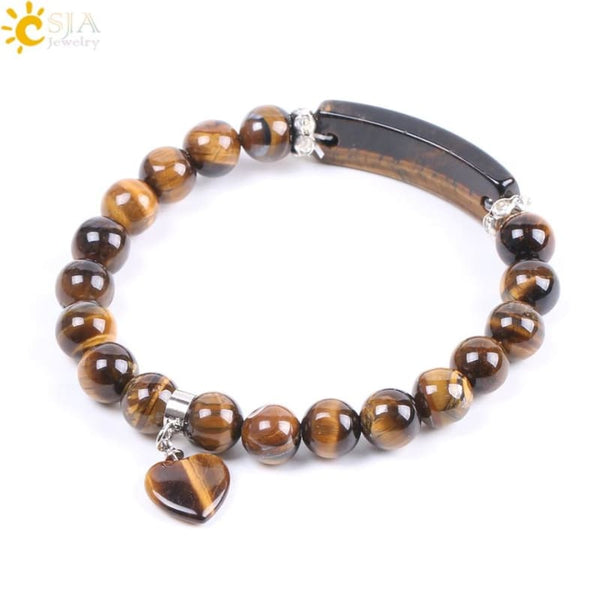 Natural Stone Beads Tiger Eye Men Strand Bracelets & Bangles Heart Shape Silver-color Fitting Women - Jewelry