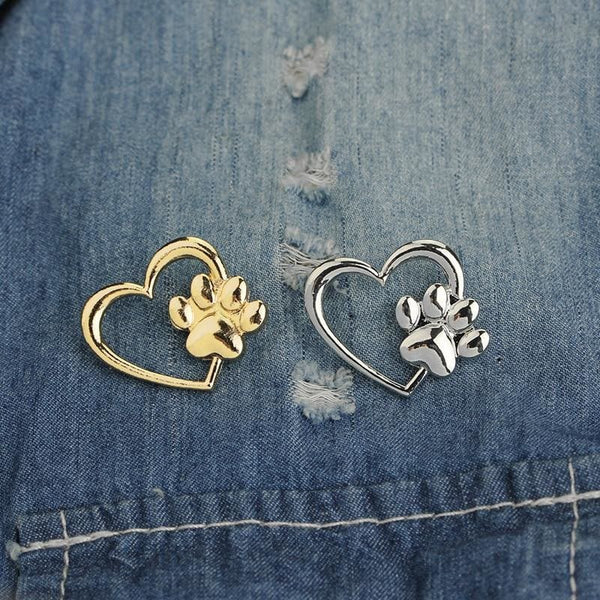 Paw in Heart Brooch Cat Paw Pins Gold Silver Sweater Lapel Brooch - Jewelry